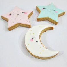Star Sugar Cookies, Moon Cookies, Fancy Cookies, Iced Cookies, Custom Cookies, Kawaii Cookies, Baby Shower Deco, Baby Shower Cookies, Moon Cake