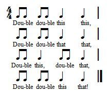 Double double this that: A great chant to practice ta and ti-ti AND improvise new lyrics! Read the blog post for more info!