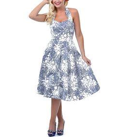 This Blue & White Floral Flirty Halter Dress - Women & Plus by Unique Vintage is perfect! #zulilyfinds