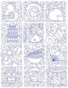 Japanese quilt block hand quilting ideas - cut out the cutsey stuff & keep the torii, bonsai, helmet, etc.