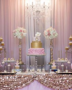 Party Ideas Princess Pink And Gold Twinkle Twinkle Super Ideas 16th Birthday Decorations, Sweet 16 Decorations, Quince Decorations, Quinceanera Decorations, Quinceanera Party, Baby Shower Decorations, Pink And Gold Birthday Party, Sweet 16 Birthday, Gold Party