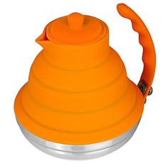 Silicone & Stainless Steel Collapsible 40 oz. Tea Kettle in Orange