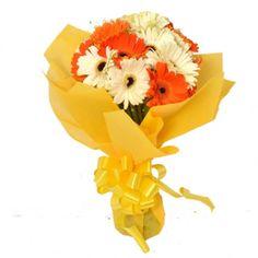 Mesmerizing Beauty Bouquet (White n Orange Gerberas)