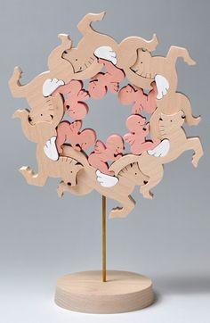 組み木 木のおもちゃ 『遊プラン』 KA089 | ペガサスとエンゼル・空を駆ける