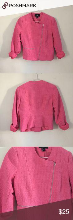 Pink Tweed Blazer Pink H&M Blazer with silver hardware. Size 6 H&M Jackets & Coats Blazers