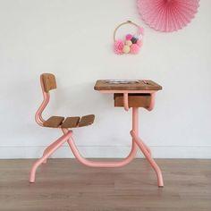Bureau enfant, pupitre d'écolier vintage 1 place, bois métal, rose, rétro