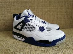 cheaper 20a87 d0390 Air Jordan 4 IV Motosports Men Basketball Shoes White Blue Black AAA,Price   65