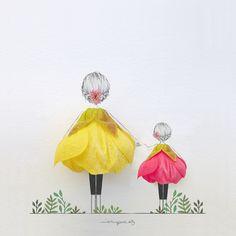 Lovely Miniature Art work by Jesus Ortiz. Pressed Flower Art, Arte Floral, Flower Petals, Cute Art, Creative Art, New Art, Art Drawings, Illustration Art, Artwork