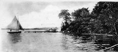 In 1908, the view from near the north point of Oakwood Park looking along the shore to the south. Today, this is one of the last tree filled and classic neighborhoods of Clear Lake Iowa.