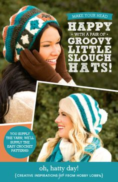 Make your head happy with a little slouch hat from these easy crochet patterns.