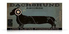 DACHSHUND records album style artwork on canvas 12 by geministudio