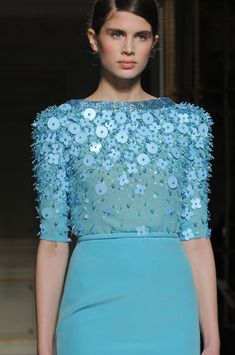 Soft french blue Georges Hobeika Spring 2013 - Details
