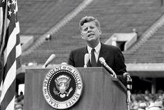 "1962. 12 Septembre. By Bob GOMEL. President Kennedy at Rice University. Houston, Texas. The ""Moon Speech"""
