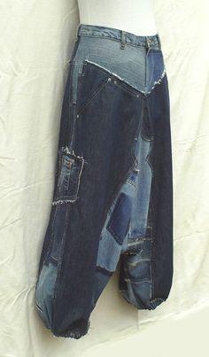 Sarouel en patchwork de jeans recyclés Réalisation sur par DLFine