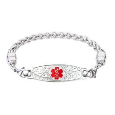 My Identity Doctor Pre-Engraved /& Customizable Gluten Allergy Toggle Medical Bracelet Steel Hearts White