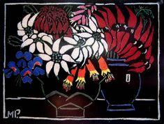 Sturt's Pea Hand coloured woodblock, 20 x 26 cm by Margaret Rose (MacPherson) Preston (1875-1963) Australia