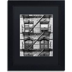Trademark Fine Art Fire Escape Manhattan Canvas Art by Philippe Hugonnard, Black Matte, Black Frame, Size: 16 x 20, Gray