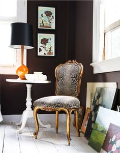 I have this chair....never thought leopard would look good on it.  I am imagining a black lacquer paint finish with the leopard fabric