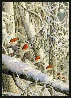 Gnomes on a log. Swedish Christmas, Christmas Gnome, Scandinavian Christmas, Christmas Art, Woodland Creatures, Magical Creatures, Vintage Christmas Cards, Christmas Images, Christmas Illustration