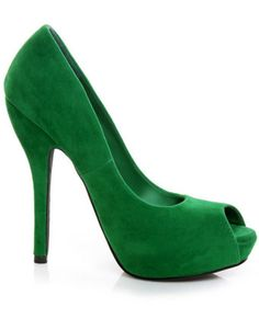 Green Velvet Peep Toe Pumps    March 17 is coming up!!!!
