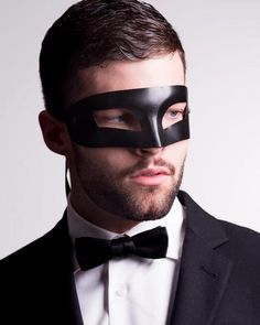 Mado Black Leather Masquerade Mask For Male Model 3. #masquerade #mask #mens #black #blackmasquerade  vivomasks.com