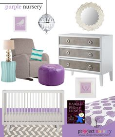 We think purple will be a huge nursery color this year! See our #designboard for a purple nursery.