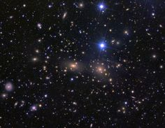 The Coma Cluster of Galaxies (May 2 2010) Credit & Copyright: Dean Rowe Almost every object in the above photograph is a galaxy. The Coma Cluster of Galaxies pictured above is one of the densest clusters known - it contains thousands of galaxies. Each of these galaxies houses billions of stars - just as our own Milky Way Galaxy does. Although nearby when compared to most other clusters, light from the Coma Cluster still takes hundreds of millions of years to reach us.