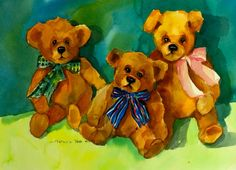 TEDDY BEAR TRIO Original Watercolor Painting by Pat Weaver