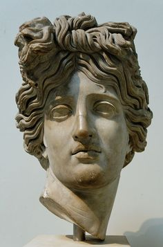 Head of Apollo, recalling the Apollo Belvedere. Marble, Roman copy of ca. 120-140 AD after a Hellenistic original. From Rome. British Museum