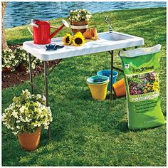 Outdoor Potting Table at Big Lots.  This little table would also be great for camping (where you have water access).