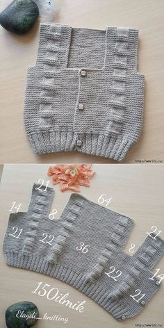 Вот так можно связать детский жилет find and save knitting and crochet schemas simple recipes and other ideas collected with love vests crochet tissue of agujas Easy Knitting Patterns, Knitting For Kids, Knitting Stitches, Free Knitting, Baby Knitting, Crochet Patterns, Baby Sweater Patterns, Easy Patterns, Knitting Machine