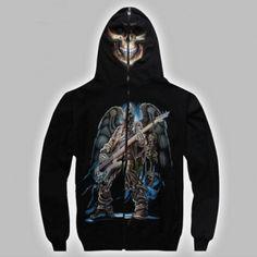 Biker Skull Dragon Snake Grim Reaper Glow In Dark Zip Zipped Hoodie Hoody Jacket