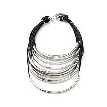 "Stately Steel Multistrand Black Cord 17"" Necklace"