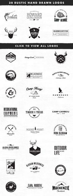30 Rustic Vintage Hand Drawn Logo Templates For Branding: logo, design, rustic, vintage, hand drawn, hand lettering, branding, logotype, font, icon, wilderness, outdoors, beard, deer, antlers, fishing