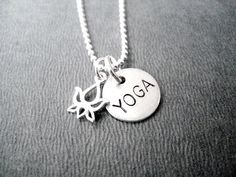 YOGA LOTUS FLOWER Sterling Silver Yoga Necklace  16 by TheRunHome