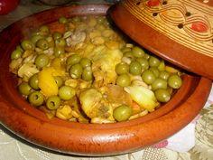 Tajine au poulet et olives Cuisine Diverse, 20 Min, Black Eyed Peas, Main Meals, Pickles, Cucumber, Turkey, Fruit, Vegetables