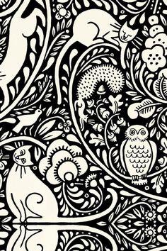 Julie Paschkis Bohemia Black and Cream Owl Cat Fabric