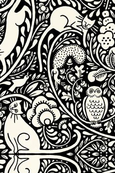 Julie Paschkis Bohemia Black and Cream Owl Cat Fabric 1 yard