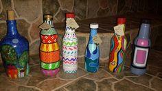 Botellas pintadas a mano, ideas de reciclajes y un detalle para regalar
