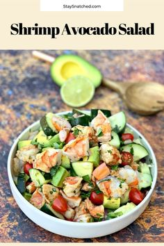 Shrimp and Avocado Ceviche Salad (Keto and Low-Carb) is the best easy recipe for a summer salad filled with zesty lime, cilantro, tomato, cucumbers, and more. This healthy dish has no mayo and is ready in minutes. Serve with pan-seared or grilled shrimp. Diet Dinner Recipes, Raw Food Recipes, Lunch Recipes, Seafood Recipes, Salad Recipes, Keto Recipes, Beans Recipes, Freezer Recipes, Freezer Cooking
