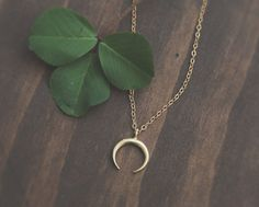 Tiny Raw Brass Crescent Necklace, Upside Down Moon Necklace, Double Horn Necklace, Bohemian Moon Necklace, Gold Moon Pendant, Edgy Necklace