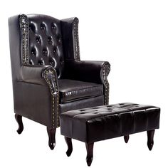 Cloud Mountain Tufted Accent Chair and Ottoman Black Leather Club Chair Couch Tufted Accent Chair, Tufted Ottoman, Chair And Ottoman, Accent Chairs, Rugs In Living Room, Living Room Furniture, Living Room Designs, Black Ottoman, Leather Ottoman