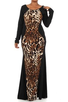 Shop Kami Shade' - Plus Size Amazon Print Long Sleeve Maxi Dress, $88.00 (http://www.kamishade.com/haute-plus-size-dresses-more/plus-size-casual-party-bodycon-dresses/plus-size-amazon-print-long-sleeve-maxi-dress/)