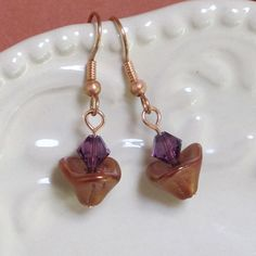 UU Chalice Jewelry — Earrings with Bronze Luster Czech Glass and Amethyst Swarovski Crystal, by jUUwelry on Etsy