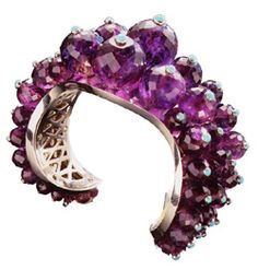 An Amethyst and Turquoise Cuff, by James Taffin de Givenchy Art Deco Jewelry, Modern Jewelry, Beaded Jewelry, Jewelry Box, Jewelery, Fine Jewelry, Jewelry Design, Amethyst Bracelet, Amethyst Jewelry