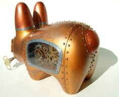 "Crazy steampunk rabbit - ""Woppit & Hare Clockwork Enigma"" - made by Doctor A. using the customized ""labbit"" evil toy from Kid Robot."