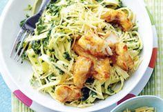 Tagliatelle met spinazie en kibbeling