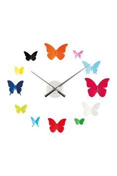 DIY Butterflies Plastic Wall Clock - Multi on HauteLook