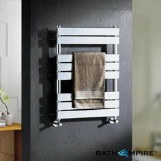 800x600 mm Chrome Heated Towel Rail | Flat Panel Radiator - BathEmpire