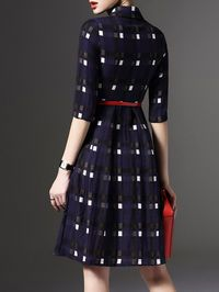 Buttoned Plaid Midi Dress with Belt. Vintage classic. Ylime xxx